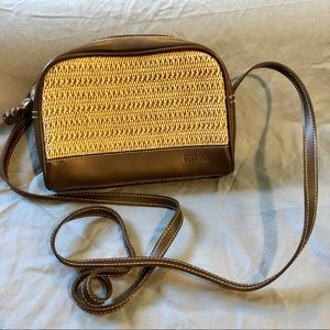 Gitano brown Faux leather rope woven crossbody bag